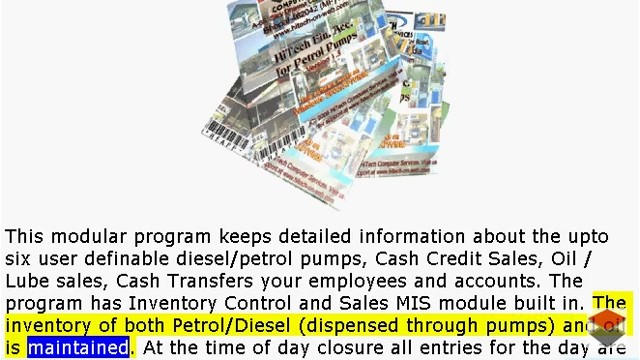 HiTech Financial Accounting Software for Petrol Pumps, Business Management and Accounting Software for Petrol Pumps. Modules : Pumps, Parties, Inventory, Transactions, Payroll, Accounts & Utilities. Free Trial Download.