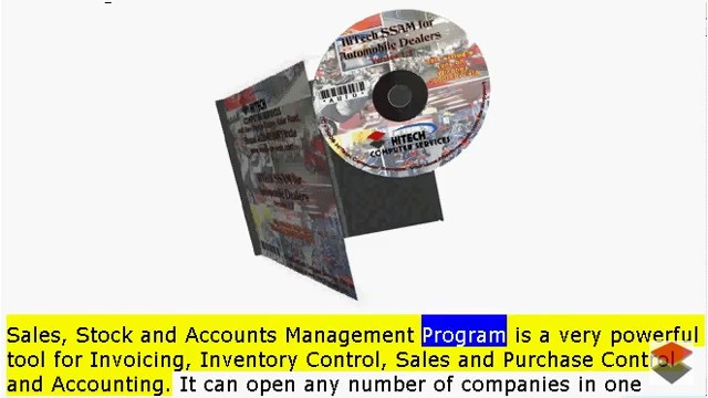 HiTech SSAM for Automobile Dealers (Accounting Software), Business Management and Accounting Software for automobile dealers, service stations. Modules :Customers, Suppliers, Products, Automobiles, Sales, Purchase, Accounts & Utilities. Free Trial Download.